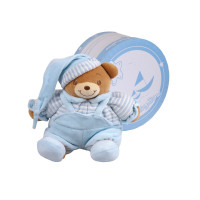 Baby Bow Cotton Velour Bear In Gift Box (Blue)