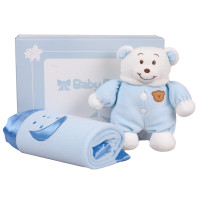 Baby Bow Gift Set (Bear And Blanket) (Blue)