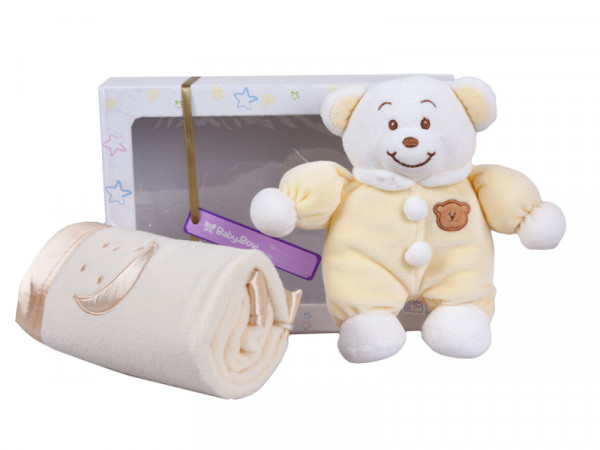 Baby Bow Gift Set (Bear And Blanket) (Yellow)