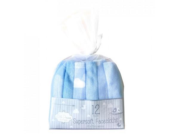 Little Dreams Super Soft Facecloths Blue 12pk