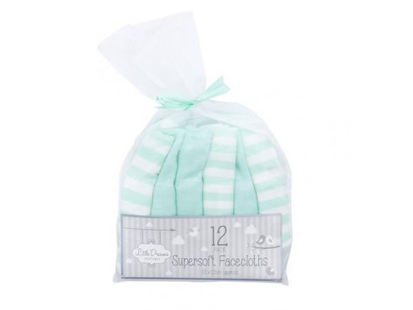 Little Dreams Super Soft Facecloths Mint 12pk