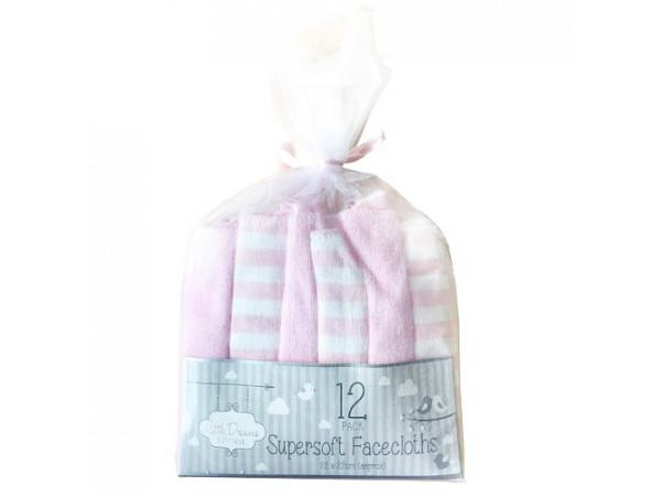 Little Dreams Super Soft Facecloths Pink 12pk