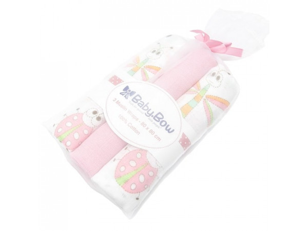 Baby Bow - 3 Pack Muslin Wraps Dragonfly (Pink)