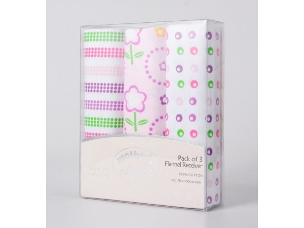 Mothers Choice Baby Flannel Wraps (3pk) Pink