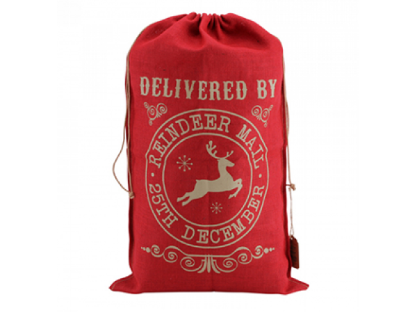 Red Hessian Sack (Reindeer Mail)